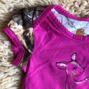 Carhartt Girls 1-piece short sleeve snap closure pink front w//deer back camo